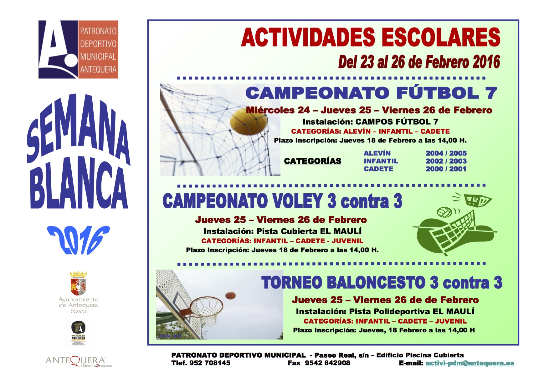 "Actividades Deportivas ""Semana Blanca 2016"""