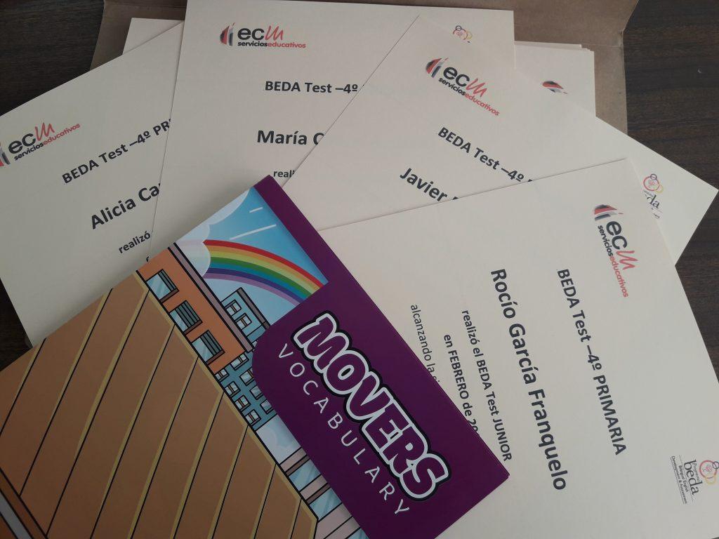 Certificados Pruebas BEDA en 4° Ed. Primaria