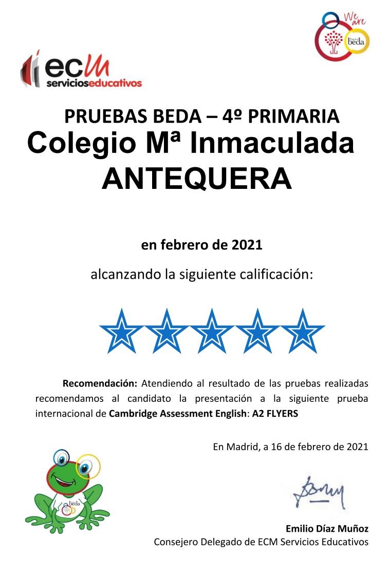 Pruebas BEDA 2021 4º Primaria